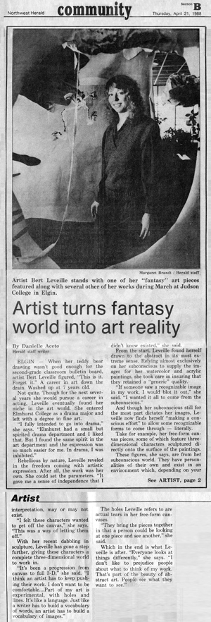 Tribune story of Leveille's exhibit Experiment in Fantasy