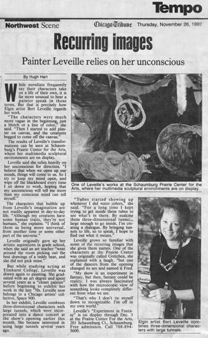 "Tribune article of leveille's Totally Tubular"" exhibit"